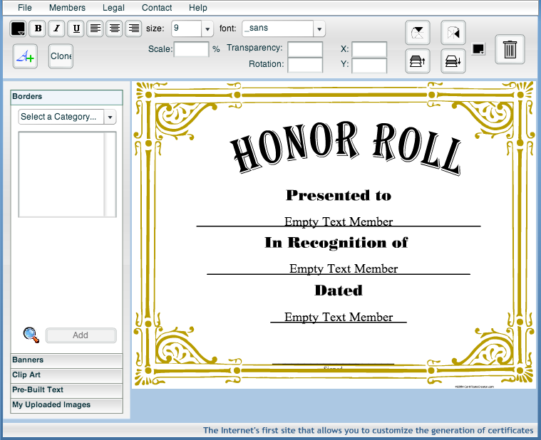 Certificate Creator - Create and print awards and ...